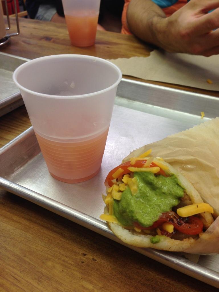 arepa mia and guava juice
