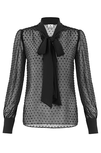 Black dot and bow sheer blouse
