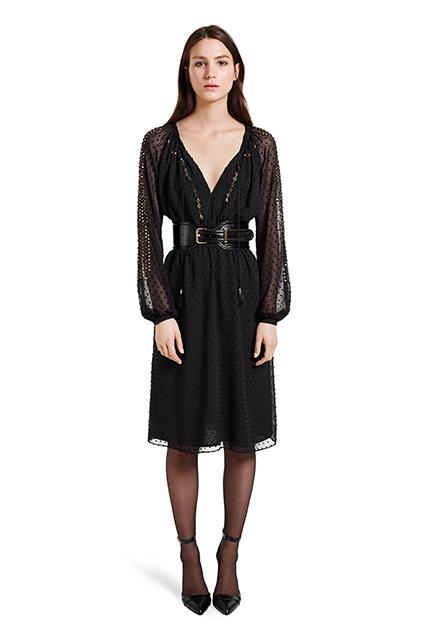 Black dress with black belt