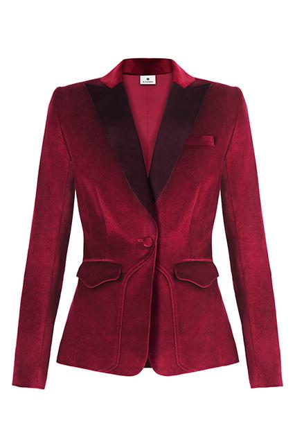 Cranberry velvet blazer