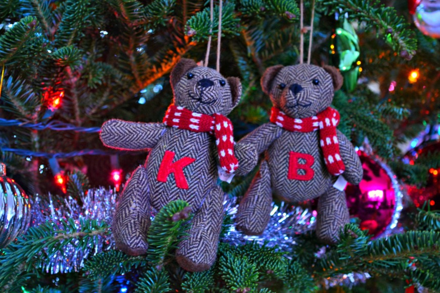 K and B Christmas ornaments