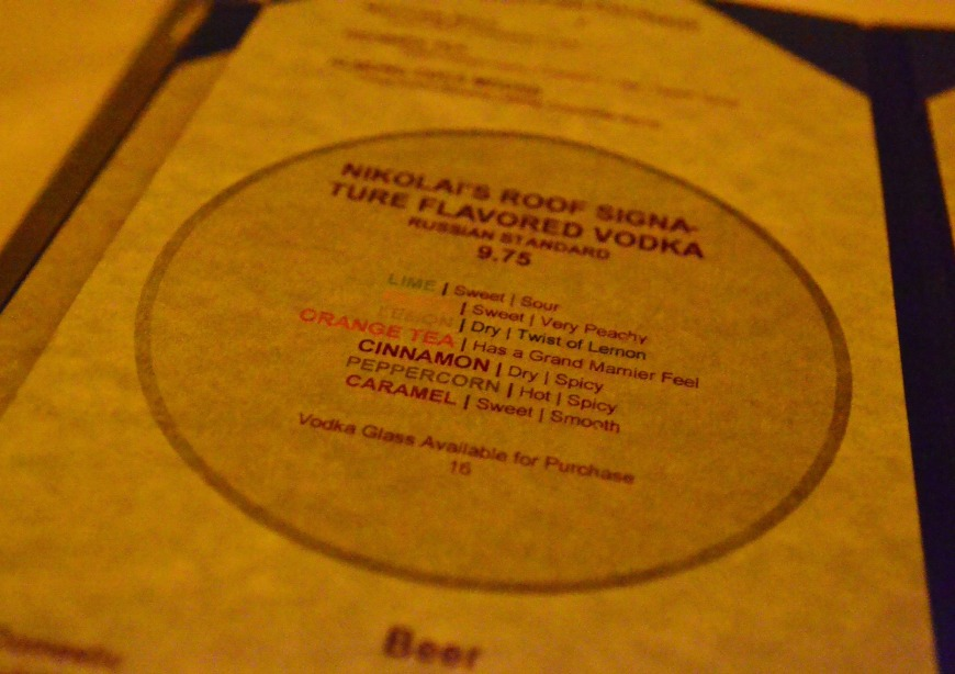 nikolais vodka menu